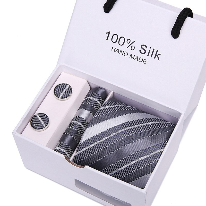 New Plaid Men Ties Set Extra Necktie 100%Silk Jacquard Woven Neck Tie Suit Wedding Party Gift Box Men's Tie Accessories