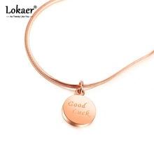 Lokaer Trendy Stainless Steel Rose Gold Love Custom Good Luck English Letter Pendant Necklace Women Party Xmas Gift N18237