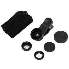 3 en 1 Clip de filtre Mobile objectif Macro grand Angle Fisheye avec câble USB Rechargeable lampe LED pour selfies