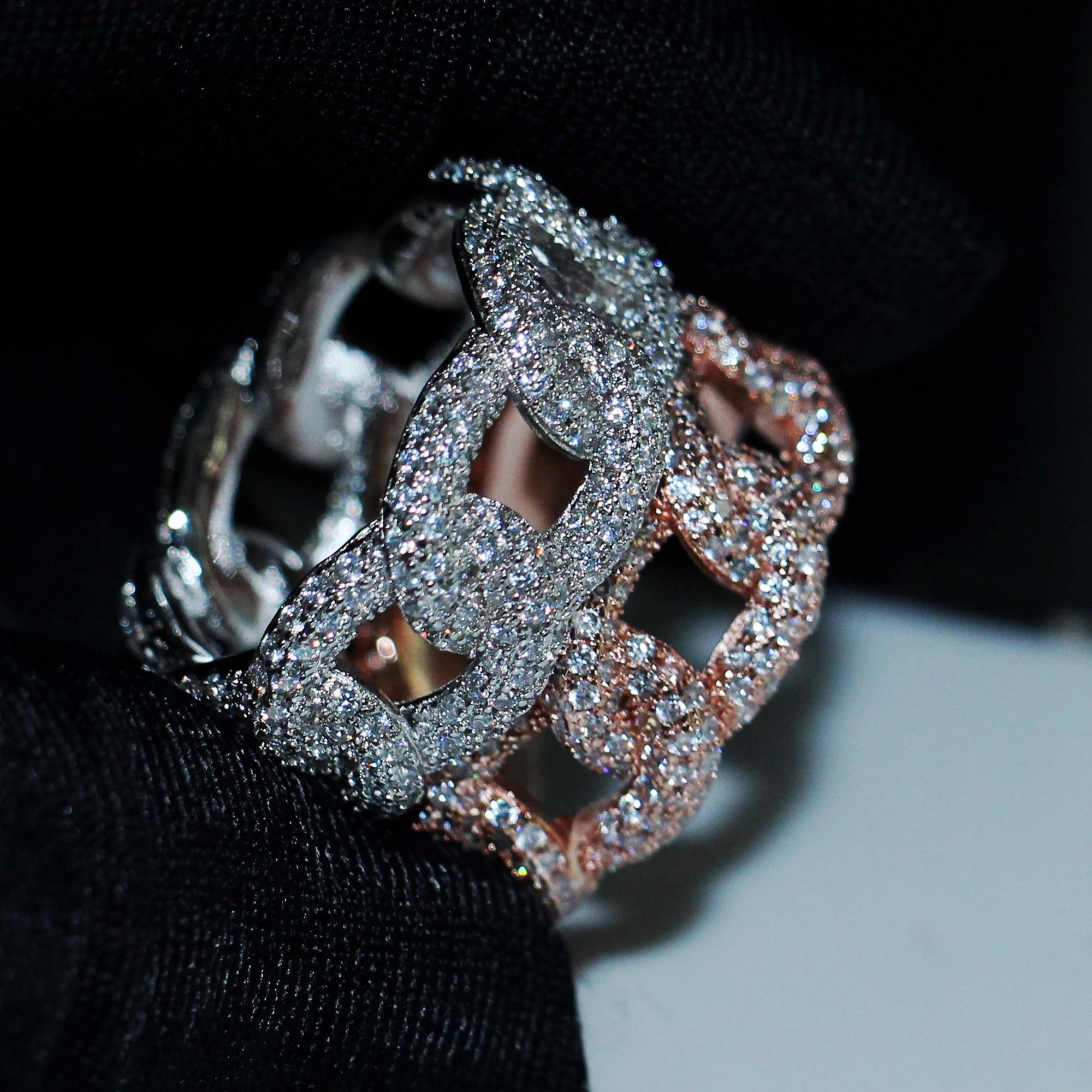 2019 Hip Hop Vintage joyería 925 Plata de Ley pavé blanco claro 5A cúbico Zirconia fiesta Cruz cadena boda anillo nupcial regalo