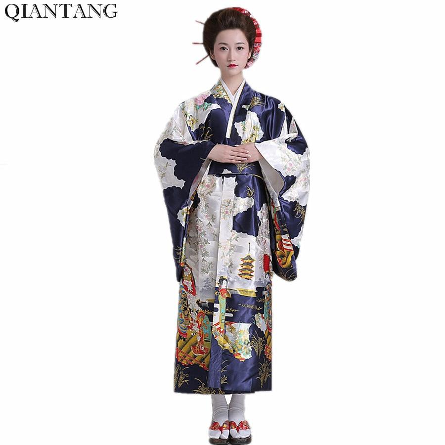 Горячая Распродажа, модное женское кимоно Yukata Haori с Obi, темно-синее вечернее платье в японском стиле, азиатская одежда, Quimono HW035