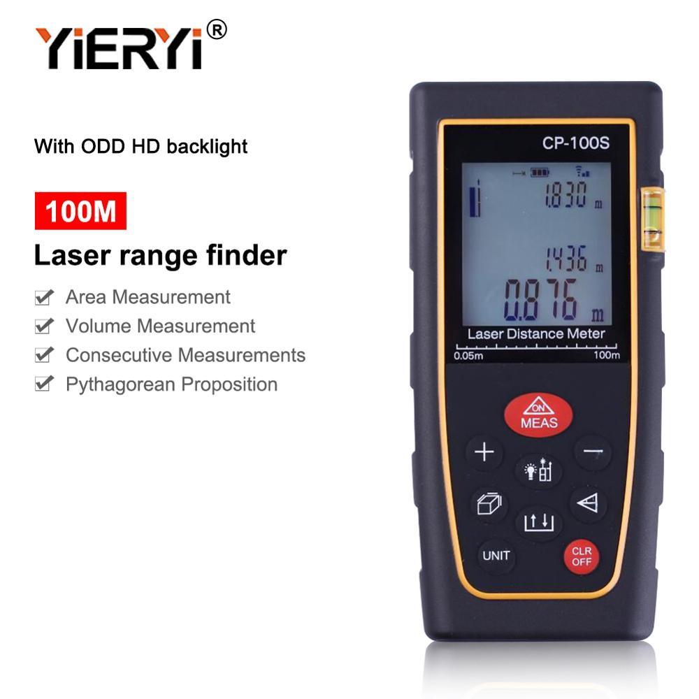 Yieryi الليزر مسافة متر CP-100S الليزر المدى مكتشف باليد 100m قياس المسافة مع الغريب HD Blacklight