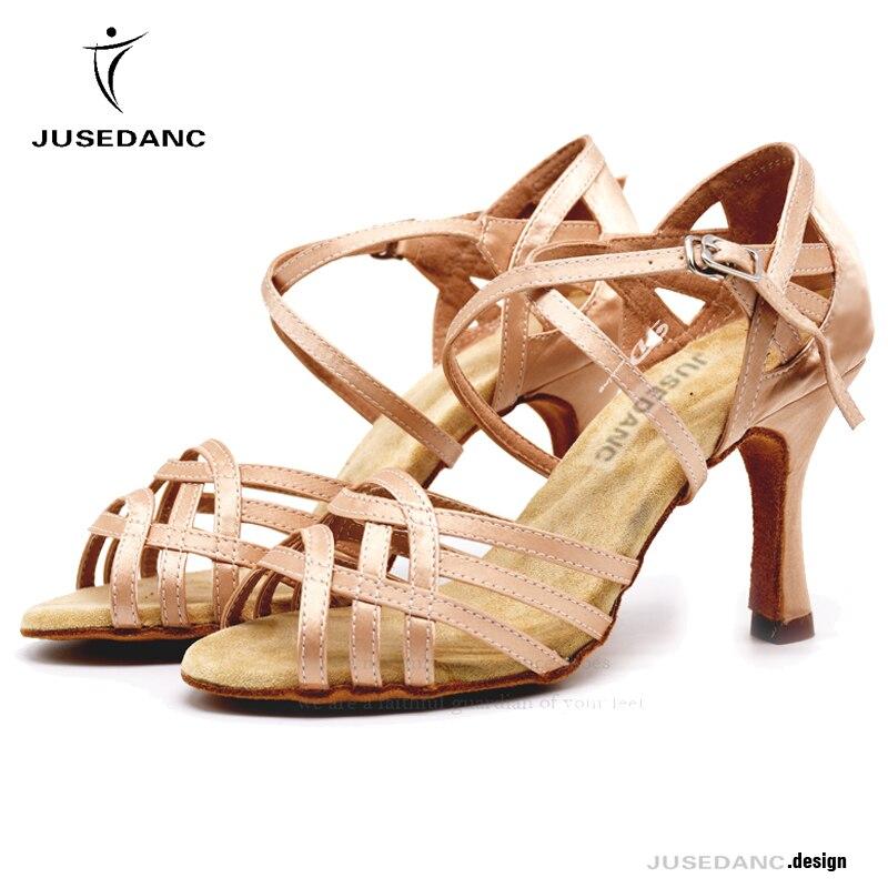 Zapatos de baile Jazz zapatos de baile para chica zapatos cuadrados de baile para mujeres zapatos de baile latino satinado piel Cros Correa JuseDanc