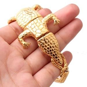 50mm New High Quality Stainless Steel Charming Gold Crocodile Cuff Bangle Punk Men's Boy's Casting Bracelets Jewelry Punk Animal