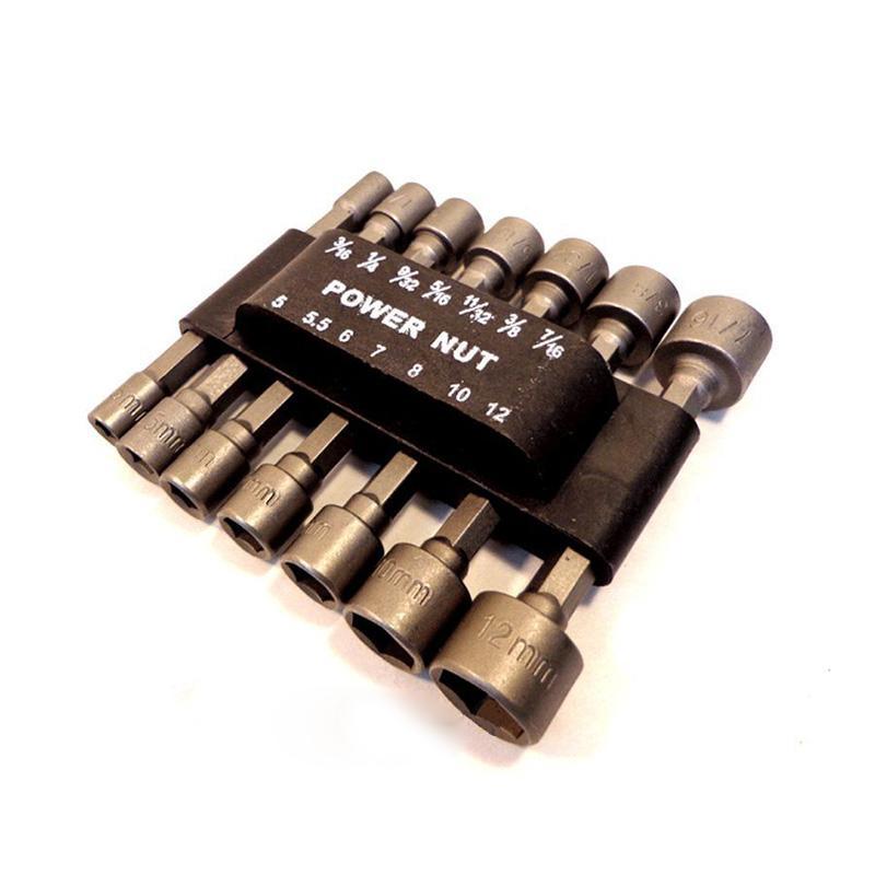 Nueva llegada vástago hexagonal portátil funciona en la herramienta de Taladro Inalámbrico 14x juego de controladores de tuerca de alimentación SAE #71215
