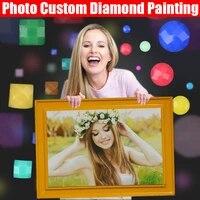 HOMFUN     Peinture avec photo personnalisee 5D  strass  diamant  broderie  3D  point de croix  maison  decoration de mariage  DIY