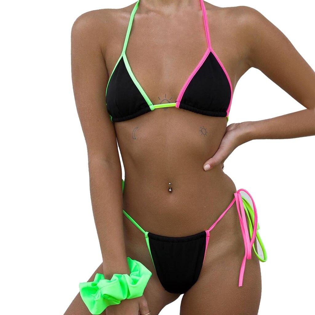 Mulher de biquíni das senhoras push up banho rainbow sexy praia halter terno festa biquinis feminino 2019 proteção solar plussize 19feb14