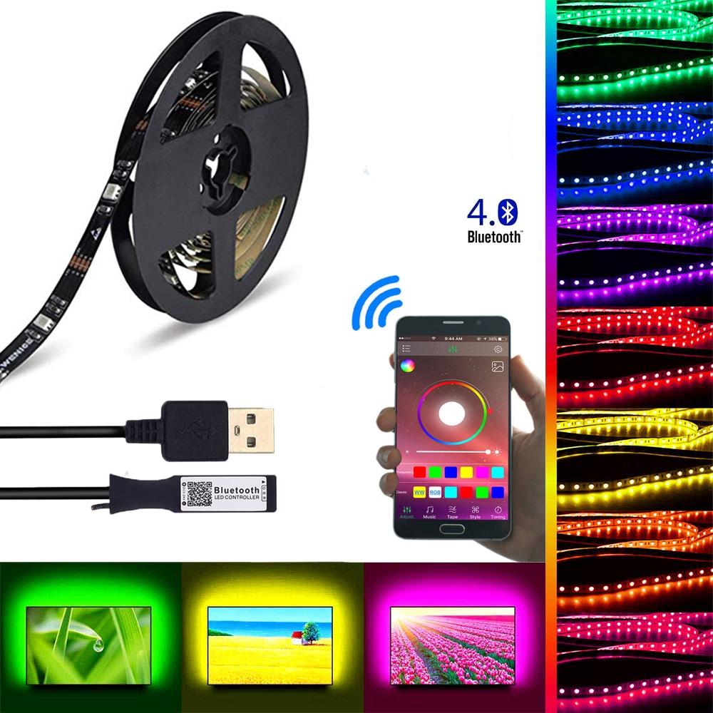 DC 5V USB Bluetooth Led Strip Licht 5050 rgb Tape APP Control Voor TV Backlight Flexibele Led Light Strip geluid Sensor Muziek Strip