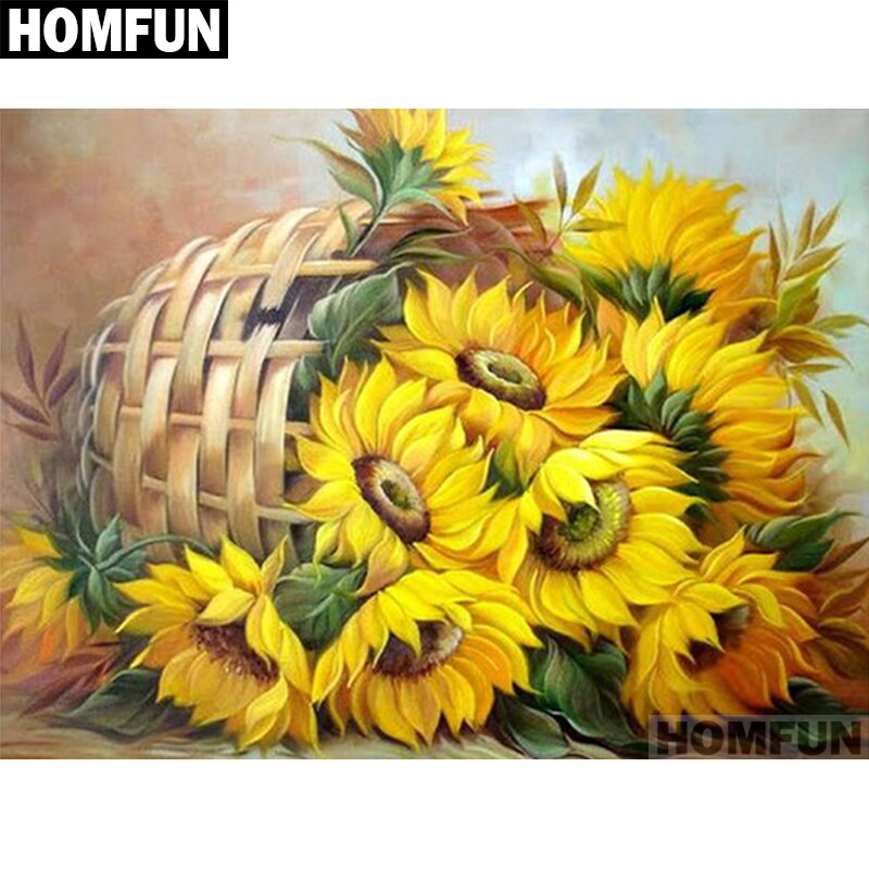 "HOMFUN 5D pintura de diamantes para labores de bricolaje punto de cruz ""girasol cesta"" diamante bordado cuadrado redondo taladro artesanía A01130"