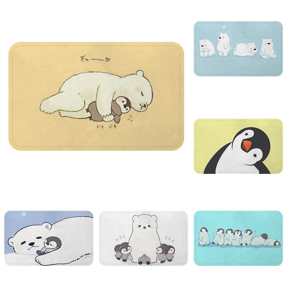Estera de dibujos animados Kawaii Oso Polar pingüino compañero alfombra de baño esteras antideslizantes decorativas habitación coche Bar alfombras puerta decoración del hogar regalo