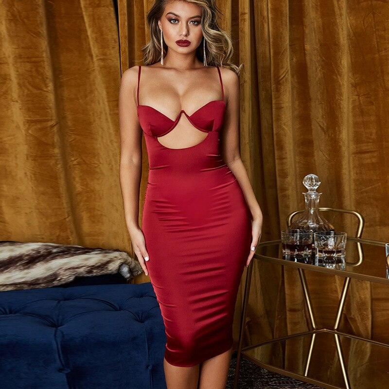 Sexy club dresses Bodycon Red Women Hollow out Padded Bra Satin Midi Dress underwired cut out Ladies Clubwear Vestido moda mujer