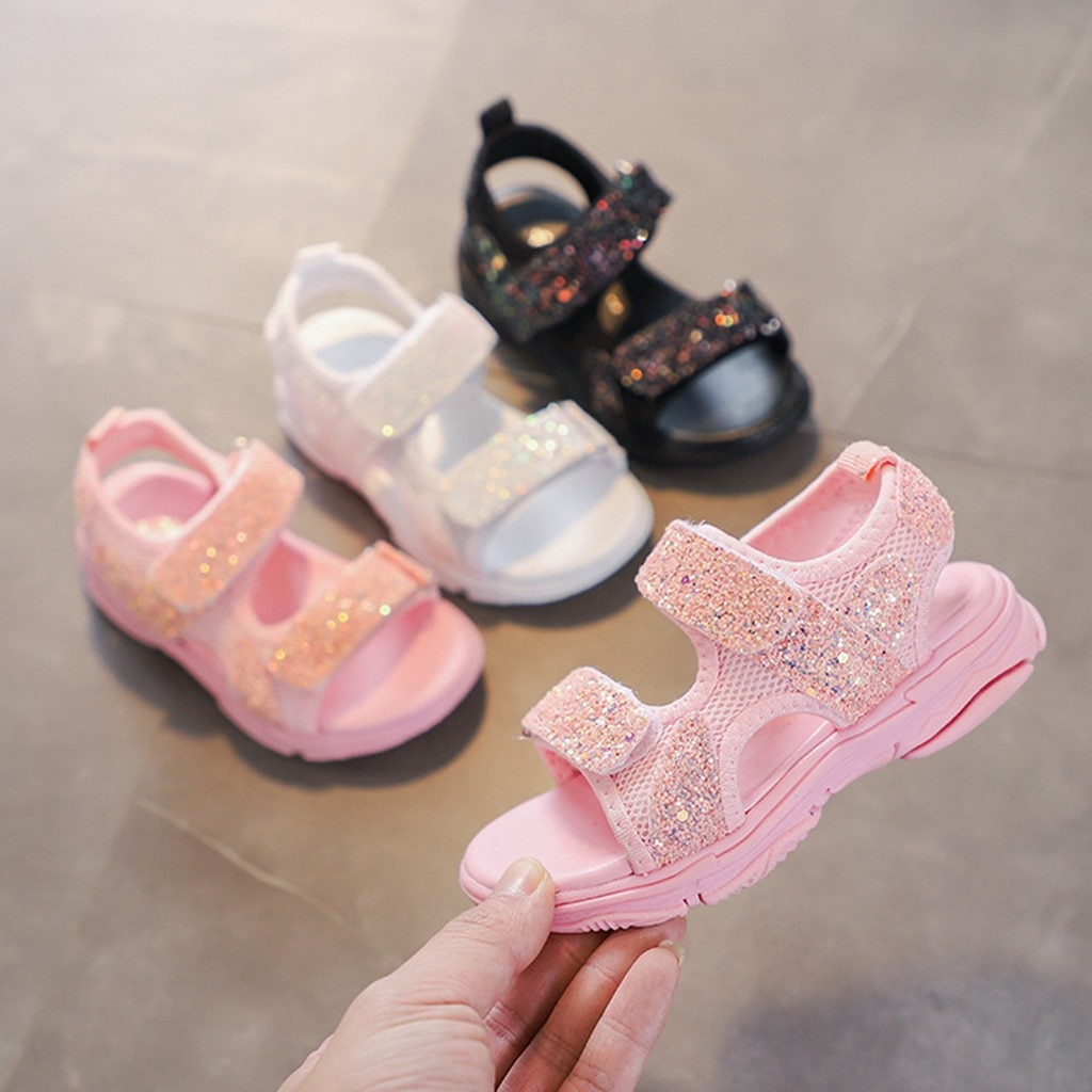 Zapatos de malla de verano para niñas, zapatillas deportivas con lentejuelas brillantes, zapatos para niños, zapatos casuales, sandalias, zapatos, Sandalia Buty