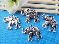 5pcs large antique silver toneantique bronze filigree elephant pendant charmfindingfit 9pcs rhinestonediy accessory jewelry