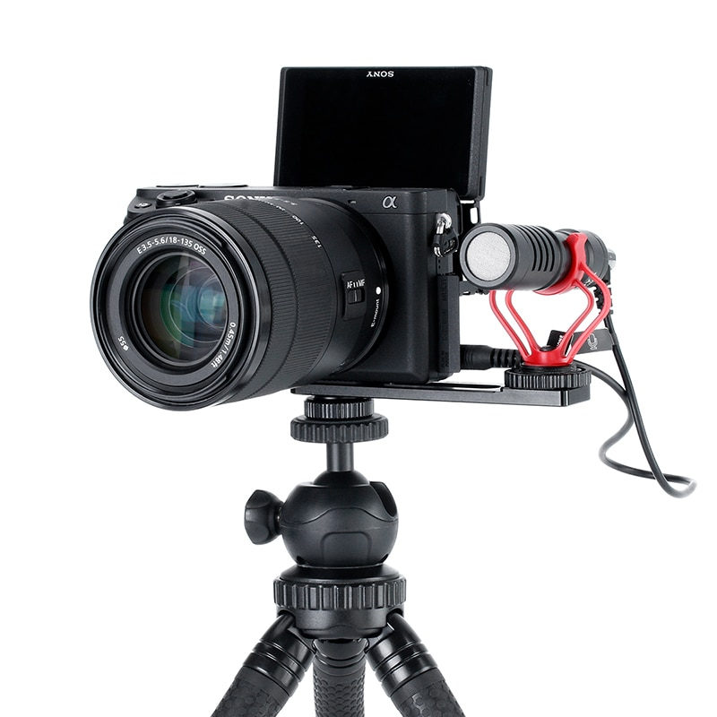 Ulanzi PT-5 Vlogging Microphone Mount Stand Extension Bar Plate with Cold Shoe1/4''-20 Tripod Hole for Sony A6400 Video Vloggers