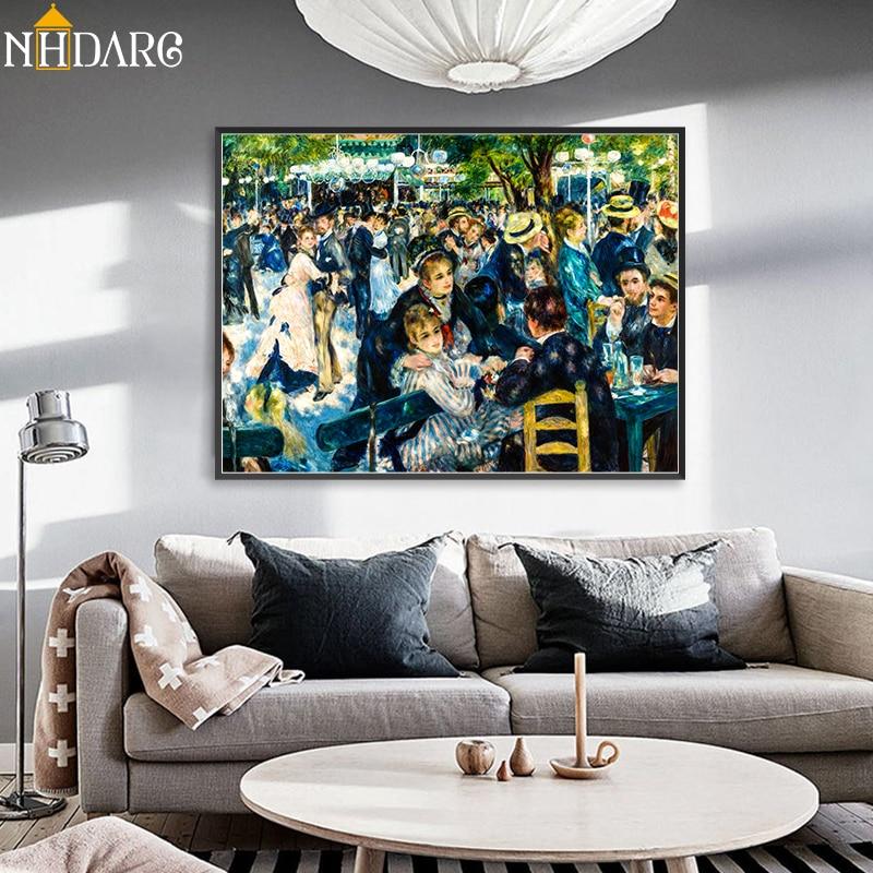 Pierre-Auguste Renoir Dance zu le Moulin de la Galette Klassische Impressionist Leinwand Druck Malerei Kunst Wand Bild Home decor