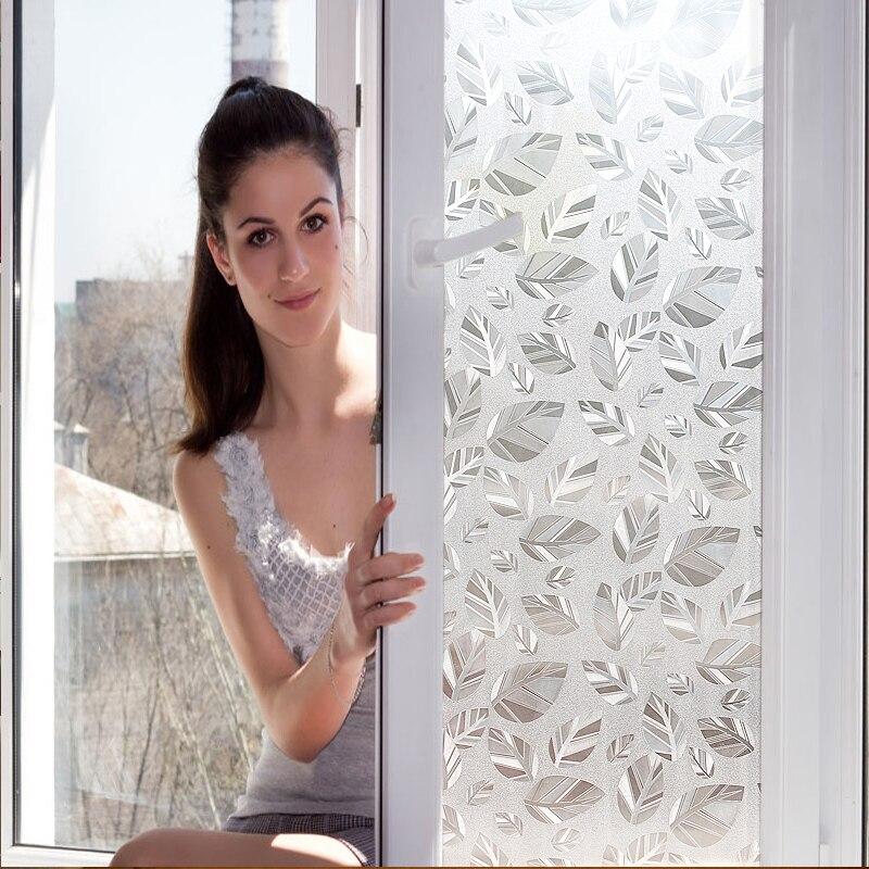 45-90CM 3m 1 ud. Hoja blanca transparente sin pegamento estática que se agarra Película tintada para ventana privacidad película texturizada decoración de ventana