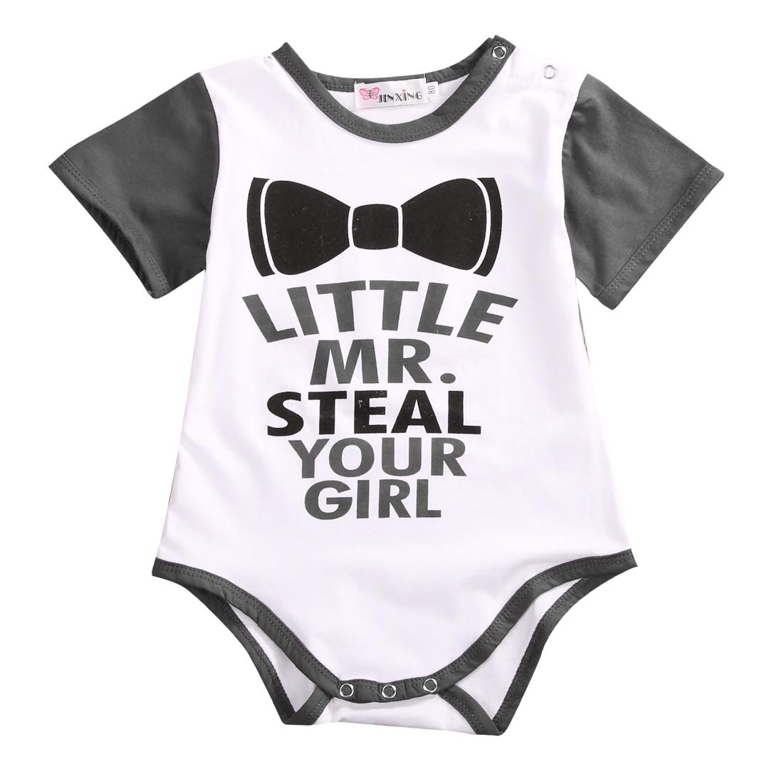 0-18 M Bebê Recém-nascido Romper Roupas de Verão 2017 de Manga Curta Infantil Bebes Meninos Pouco Senhor Playsuit Macacão Outfits