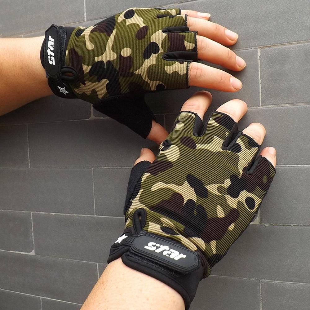 Guantes para hombre de talla grande s-xxl guantes militares antideslizantes ciclismo gimnasio Fitness deportes medio dedo guantes hombres mitones