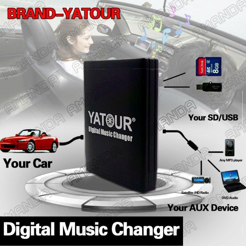 YATOUR coche adaptador AUX MP3 SD USB música RD3 de cambiador de CD conector para CITROEN C3 C4 C5 C8 Blaupunkt/VDO RD3 RADIOS