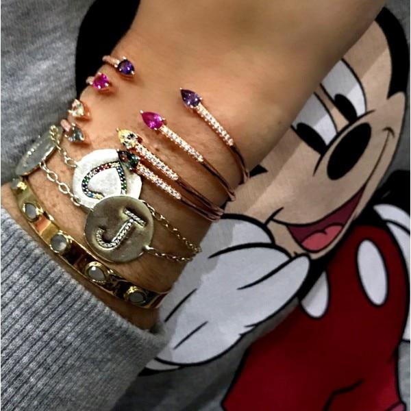 Colorido verano último diseño de joyería de moda encanto pulsera para mujeres pavimenta AAA cubic zirconia abrir Rosa pulsera de color oro