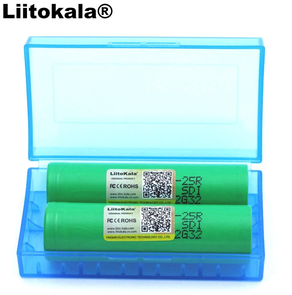 2 piezas Liitokala nuevo 18650 batería recargable de 2500 mAh 3,6 V 25R INR18650 descarga baterías 20A + caja de almacenamiento