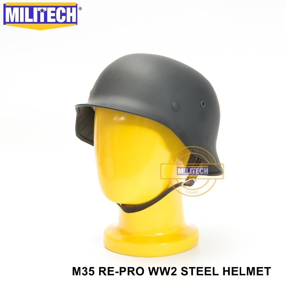MILITECH WW2 German Grey M35 Steel Helmet WW II M35 Grey German Repro Helmet Safety Motorcycle Bike World War 2 Steel Helmet