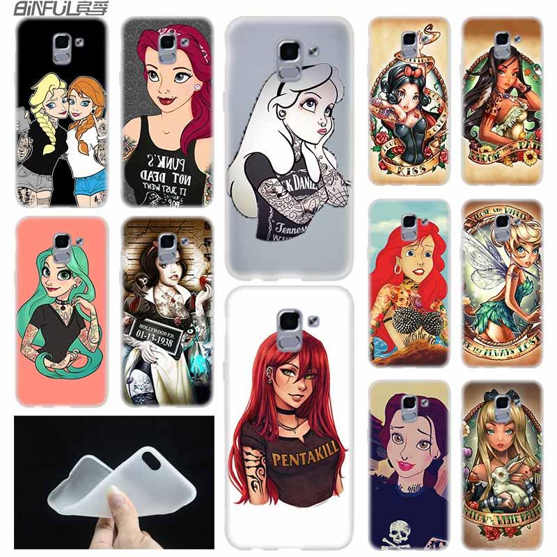 Funda de TPU blanda para Samsung Galaxy J6, J8, J5, J7, J4 Core Plus, 2018, 2016, 2017, EU Prime Pro, Ace, Tattooed, Princess, Alice, Ariel