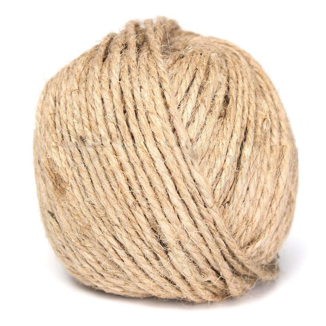 Cuerda de yute rústico marrón grueso de 3MM cuerda de arpillera para artesanía a mano 100M caja de regalo arte Floral etiquetas de boda decoración de envoltura