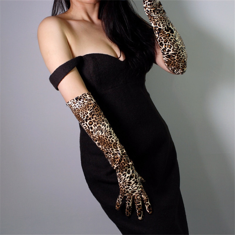 Women Long Section Leopard Leather Gloves 50cm Patent Simulation PU Bright Golden Brown Animal Pattern