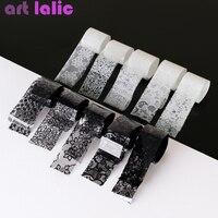 10 рулонов 2,5 * 60 см, черная, белая, кружевная переводная фольга, для дизайна ногтей, сексуальные полные обертывания, цветочный клей, клей, DIY, ин...