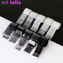 10 Rolls 2.5*60 Cm Nieuwe Zwart Wit Kant Transfer Folie Nail Art Sexy Volledige Wraps Bloem Lijm Lijm diy Manicure Styling Tools