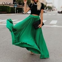Rulofan Jupe plissée femmes taille haute jupes longues ample Streetwear solide noir blanc Maxi jupes été 2019 Jupe Femme