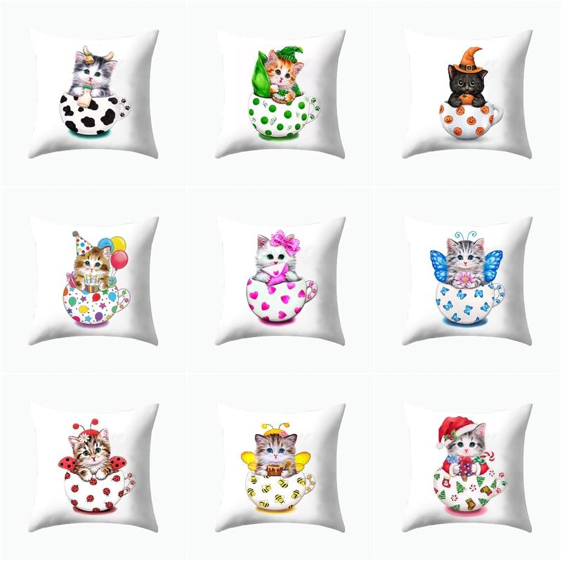 2019 Cute Cat Claw Mugs Cartoon Pillow case Milk Mugs Cushion Cover Home Decoration Products Sofa Car Chair Pillow Case Company