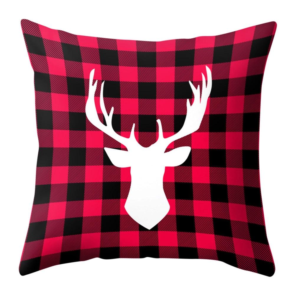 Подушка с оленем, хлопковый льняной Рождественский наволочка для дивана, автомобиля, подушка с лосем, декоративный чехол на подушки