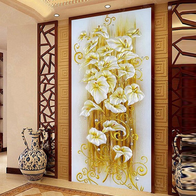 GLymg יהלומי רקמת Diy שושן פרח קריסטל בהיר תרגיל יהלומי ציור צלב תפר אנכי תמונה אירופאי בית תפאורה