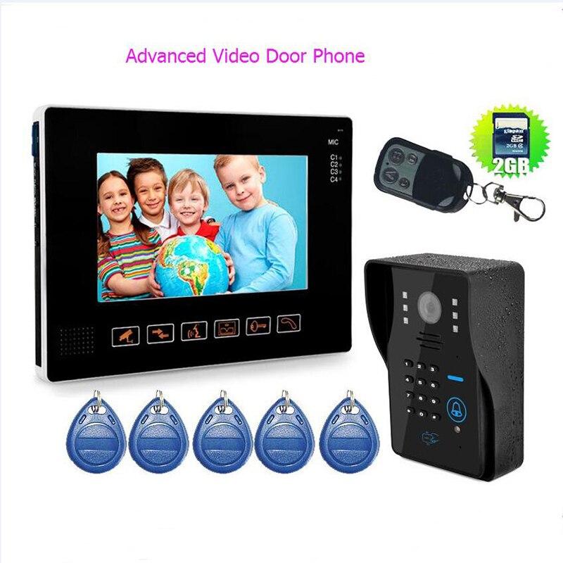"""Monitor de puerta con cable HD 9 """"TFT avanzado, videoportero para puerta de casa, sistema de grabadora de teléfono, tarjeta SD/TF compatible con impermeable"""