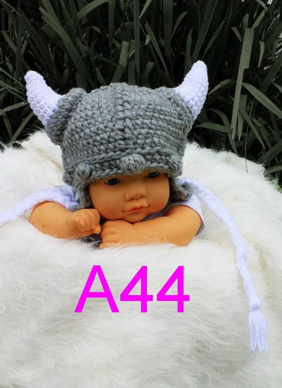 20 pcs Crochet Viking Hat-Crochet Crianças Capacete Criança-Leme-Viking Viking Viking Helmet-Crochê Bebê hat-Chapéu de Crochê Crianças