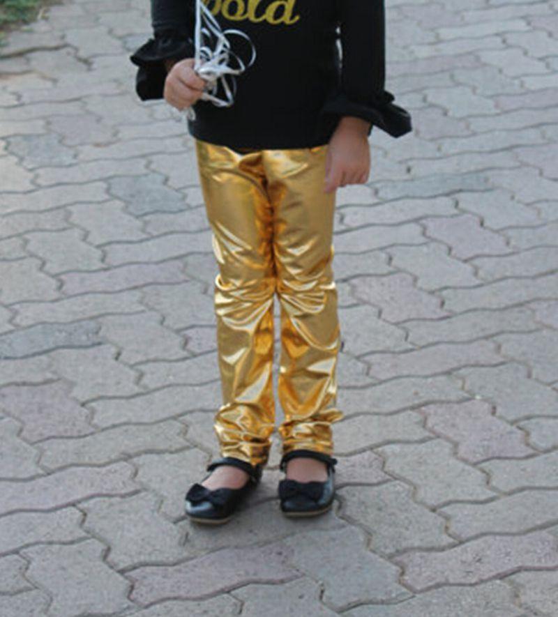 Mallas metálicas doradas para bebé, mallas para bebé o niña, pantalones lisos para bebé, mallas para niños pequeños, pantalones para bebés