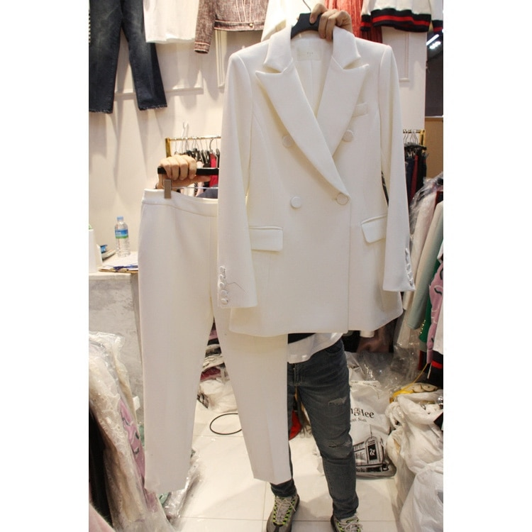 Novo coreano profissional magro pequeno terno calças terno temperamento terno jaqueta 2 peças conjunto feminino wear para ternos de negócios primavera