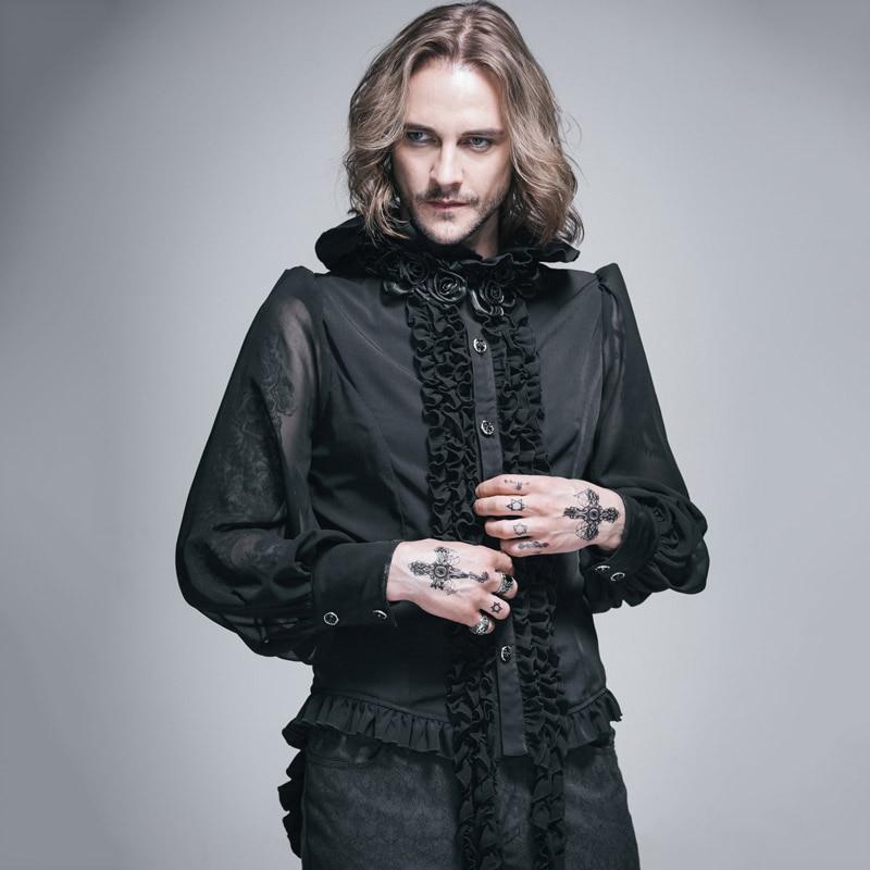 Devil Fashion Steampunk Long Sleeves Man Chiffon Blouses Gothic Victorian Roses High Ruffled Collar Shirts Tops
