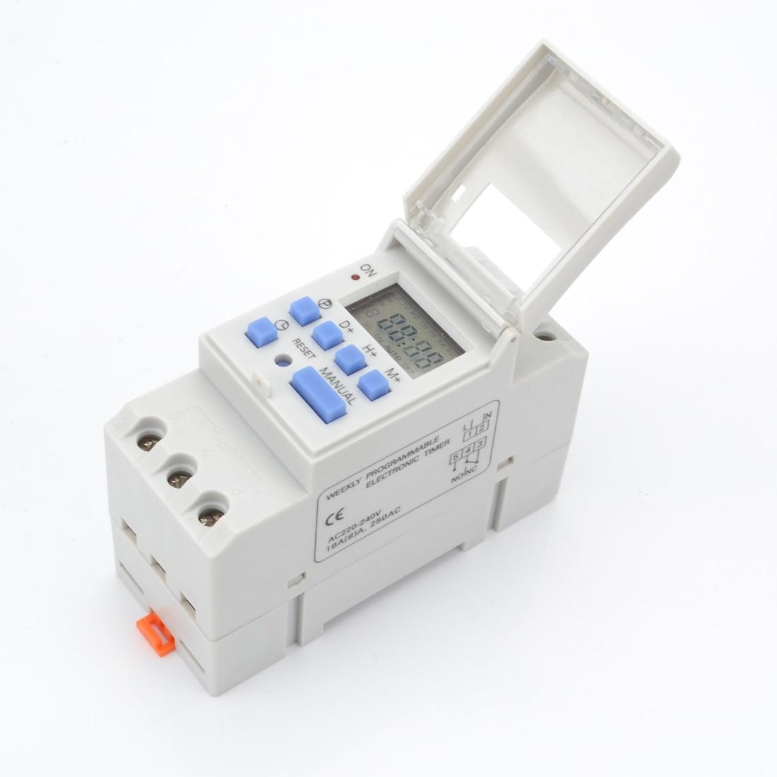 Digital LCD Power Timer 7 Days Programmable Time Switch AC 220V / 110V  DC 12V 16A Temporizador Din Rail Timer Switch