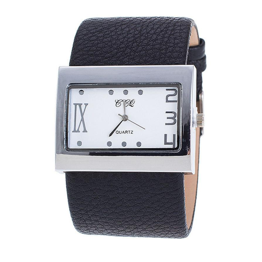 Reloj Ccq de lujo para mujer, reloj de cuero de lujo para hombre y mujer, reloj de pulsera para mujer, reloj de cuarzo grande para mujer, regalo
