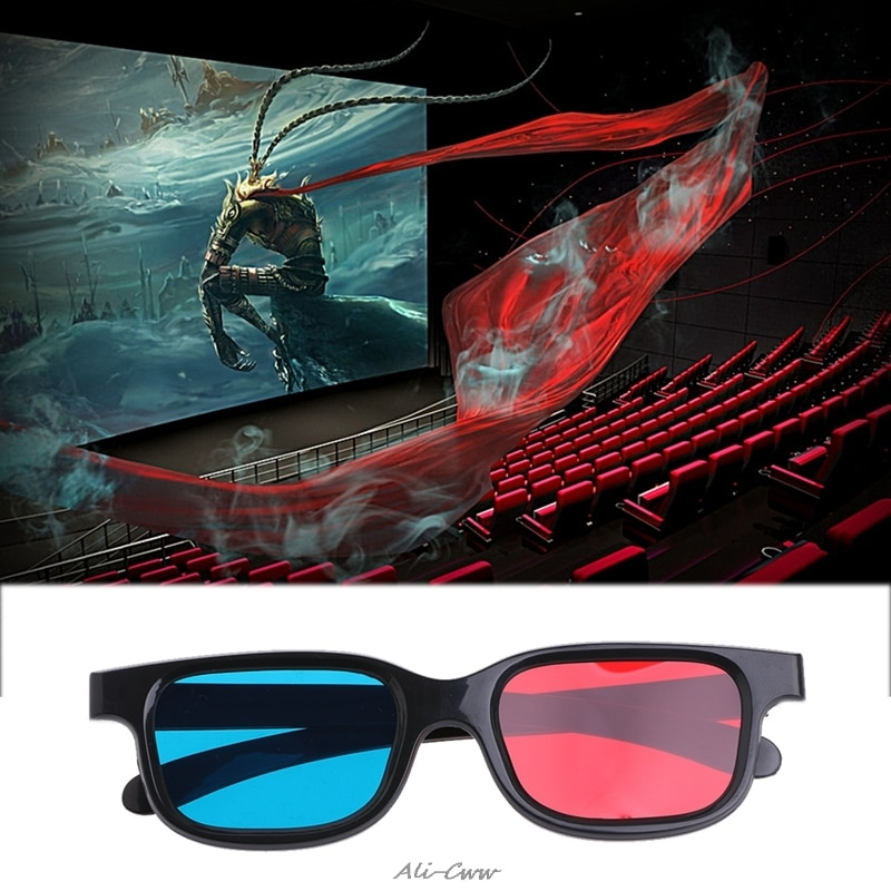 3D gafas Universal Frame negro rojo azul cian anaglifo 3D gafas de 0,2mm para la película DVD juegos