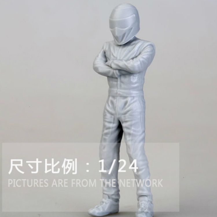 1/24 motorista de corrida, figura modelo de resina gk, kit sem montagem e sem pintura
