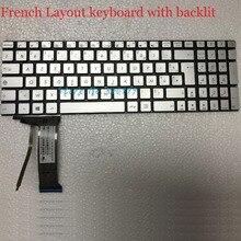 Nuovo AZERTY clavier per ASUS N551 N551J N551JQ N551JK N551JM N551JW Francese con retroilluminazione tastiera dargento
