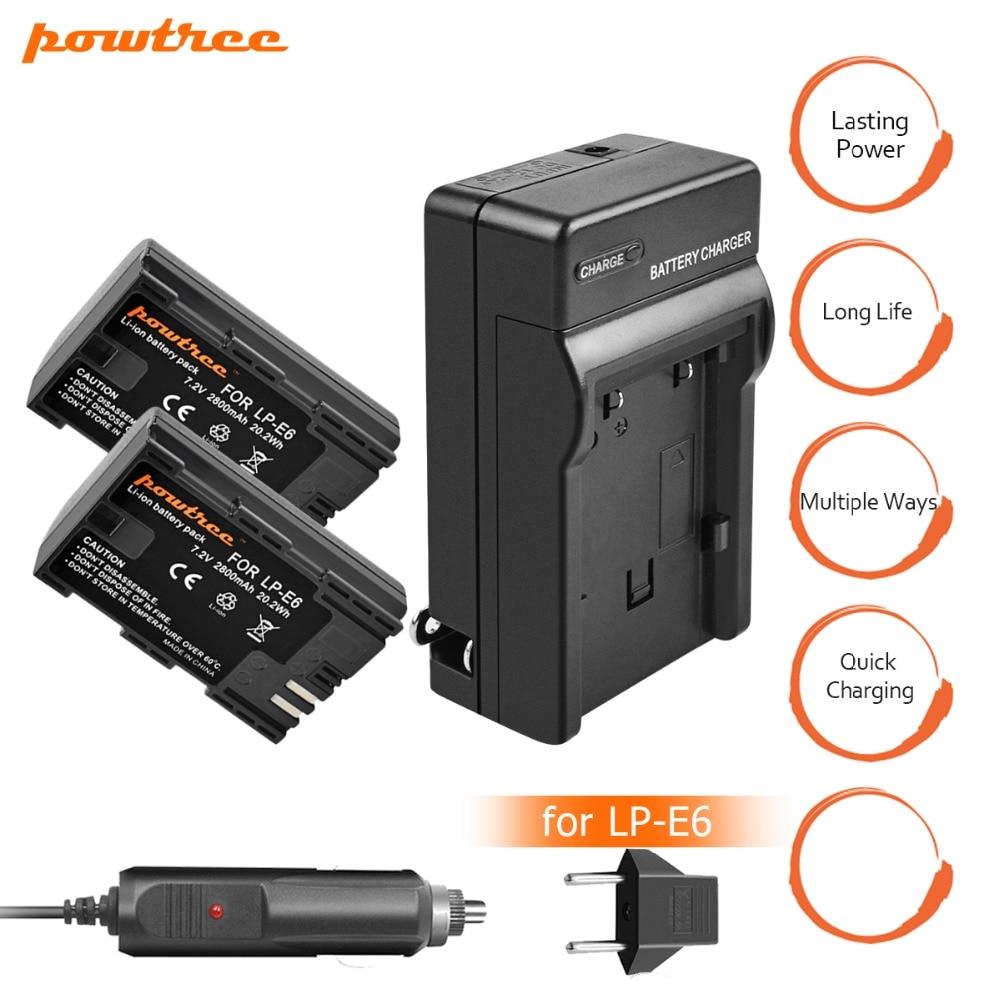 2X LP-E6 LPE6 LP E6 Rechargeable Camera Battery+ Charger for Canon 5D Mark II Mark III EOS 6D 7D 60D 60Da 70D 80D DSLR L10