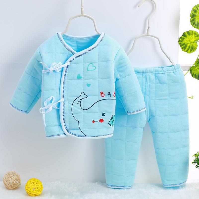 Newborn Baby Warm Underwear Suit Clothing Set 100% Cotton Child Clothes Infant Plus Cotton Lacing Thicking Monk Clothing