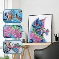 Peinture de diamant 5D de chat inacheve  bricolage  decor de maison  broderie partielle en forme speciale  point de croix  aiguille  cadeau de Festival