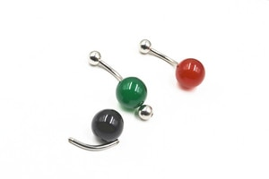 LOT30pcs Nature Stone Surgical Steel Navel belly rings Navel Button Barbells Earring 14g~1.6mm New Arrived