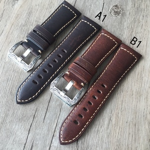 New Upscale watch strap 26mm Italian calfskin Handmade Vintage Genuine Leather Oil skin Watch Band Strap Watchband Strap for PAM